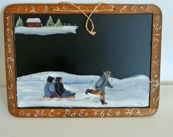 Primitive Hand-Painted Winter Scene on Chalkboard