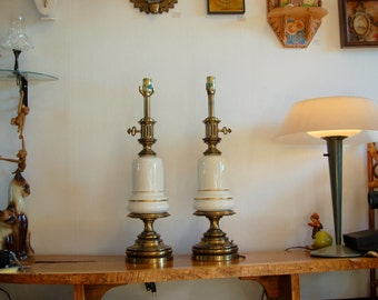 """Stiffel Porcelain & Brass Vintage Pair of Table Lamps ~ Very Good Condition ~ 25"""" Tall"""