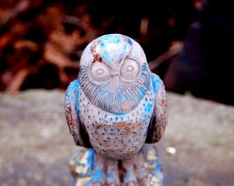 Antique Folk Art hand carved Horned Owl with aged Sky Blue & Gold Paint Remnants ~ early 20th century