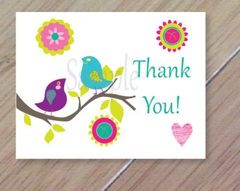 Neon Birds, Folded Thank You Cards, Set of 10, Professionally Printed, Folded bird thank you cards