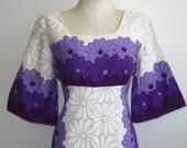 Vintage 60s Ui-Maikai Hawaiian Print Purple Cotton Barkcloth Tiki Luau Summer Dress
