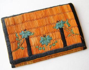 Vintage 30s Art Deco French Woven Raffia Handbag Clutch Purse