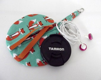 Dollbirdies Large Circular Ear Bud, Lens Cap, Coin Purse, Zipper Pouch, Cord Pouch, Camera Accessory Pouch