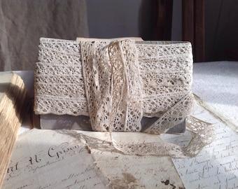Antique Lace Vintage Lace Trim, French Cotton Bobbin Lace. 5ys Vintage Wedding, Furnishings