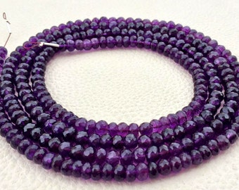 RARE Quality Natural African Amethyst Faceted Rondelles,Machine Cut Quality 8 Inch Long Strand