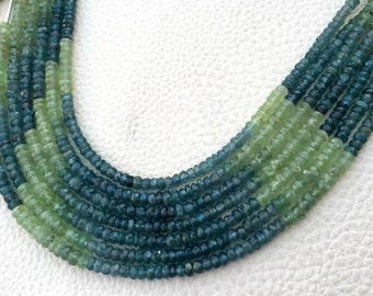 Natural,Super-Finest-AAA-Gorgeous Quality, Multi KYANITE Micro Faceted Roundels,3.5 -4mm,Best Price