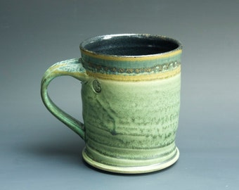 Pottery mug, ceramic coffee mug, stoneware teacup mottled green 16 oz 3246