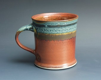 Handmade pottery coffee mug, ceramic mug, stoneware tea cup 14 oz mug  3454