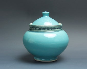Handmade pottery sugar bowl storage jar tea caddy turquoise 3487