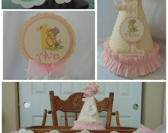 Winnie the Pooh and Piglet 1st Birthday Petite Birthday Party Package Disney high chair banner first year photo banner One banner