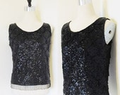 40% OFF SALE Vintage 1950's Black Beaded Blouse Top / NEW Year Party Sequined Bead Sleeveless Shirt Size Medium / Made in Hong Kong