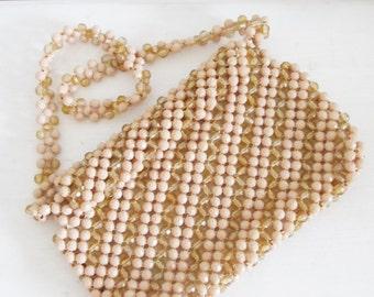 Vintage 1950's Beige Tan Beaded Purse / Made in ITALY Retro Shoulder Bag Handbag