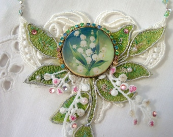 necklace  lily of the valley muguet   lace, crystal, resin cabochon