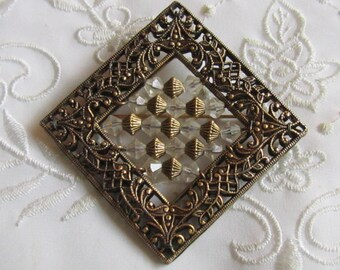 Vintage Filigree Square Brooch with Clear Crystal Beads