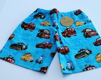 car shorts, blue car shorts, toddler shorts, boy shorts, play shorts, ready to ship