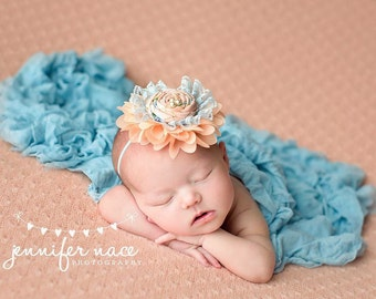 Peach Tree Lane peach and blue rosette and chiffon headband spring bow