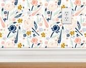 Removable Wallpaper - Desert Floral Design, Repositionable, Removable, Woven Wallpaper, Coral Navy Mint Gold Floral Wallpaper