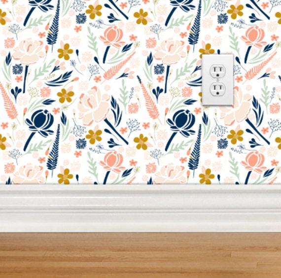 Gold Wallpaper Canada: Removable Wallpaper Desert Floral Design Repositionable