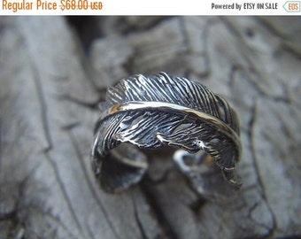 ON SALE Feather ring in sterling silver
