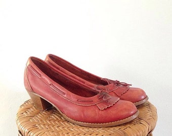 Vintage Rust-Oxblood Leather Mary Jane Oxford Shoes // Womens Size 8 // Fits like 7.5