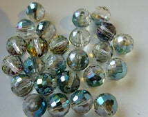 Destash (25) AB Multicolor Rainbow Round Beads Pendants - glass, crystal, faceted - jewellery making, crafts, scrapbooking