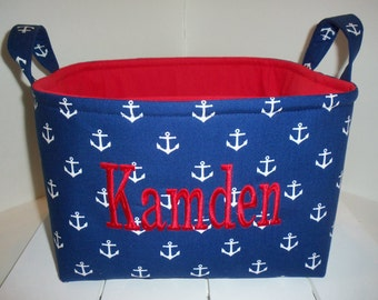 Large Diaper Caddy / Organizer Bin /Navy White Gray Red Anchor Nautical - Personalization Available