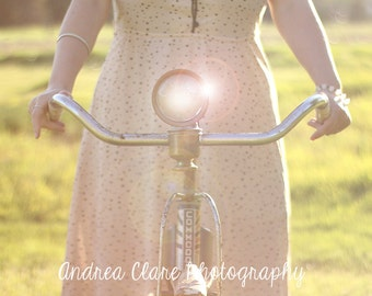 Portrait Photography, Ethereal, Girl, Fine Art Photography, Photograph, photo, print, Old bicycle, bicycle, vintage, retro, blurry, surreal