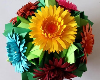 3d origami kusudama Little Rose with Gerbera flowers, table decoration