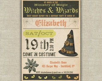 Witch and Wizards party invitation, Harry Potter