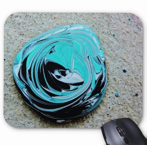 Aqua Paint Mousepad Mouse Pad Fine Art Painting Turquoise Paint Drop Drops Splatter Blue Green Black Modern Close Photograph of Paint Photo