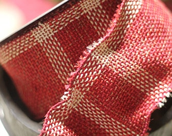Red/Beige Burlap Ribbon