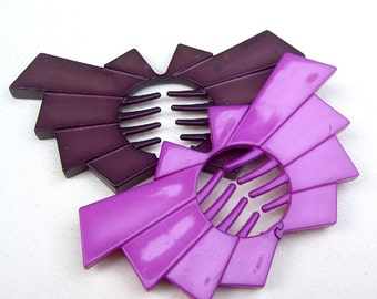 Buch and Deichmann Denmark vintage hair combs hair accessories celluloid comb plastic comb designer comb mauve purple (AAE)