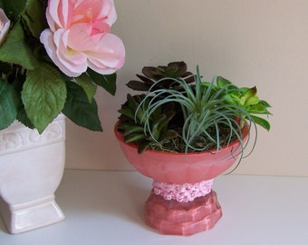 Repurposed Coral Light Shade Planter, Recycled Faux Succulent Decor, Ceiling Fan Glass Globe Floral Accent, Candle Holder Base, Upcycled
