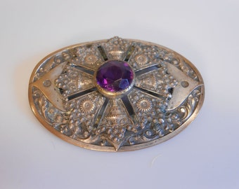 Whitechapel Jewelers -  Vtg 1890s 1900s Edwardian Art Nouveau Large Sash Brooch w/Purple Glass Stone