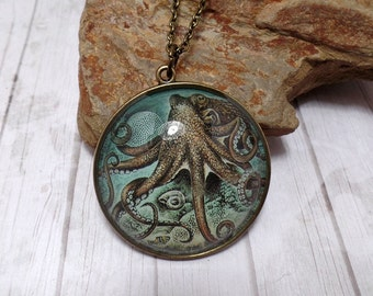 Bronze Octopus Kraken Necklace