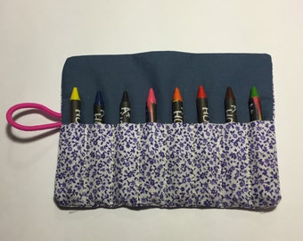 Crayon Roll Up Crayon Holder Pencil Sorter holds up to 8 crayons