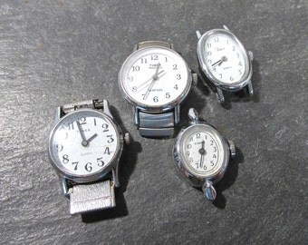 Watches for Parts or Repair Four (4) Watches Mechanical Movements Gears Jewels Face Plates Crystals Vintage Jewelry Art Supplies (N147)