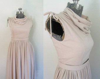 Sleeveless Cowl Neck Belted Dress // 1970s High Fashion