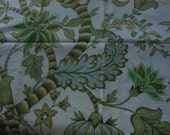 Handmade cotton print tablecloth greens floral on off white background 58 inches square