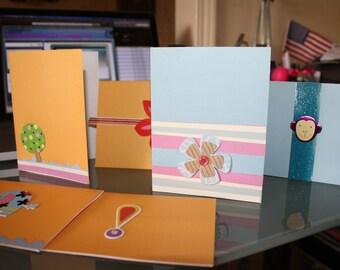Set of 6 Handmade Note Cards w/envelopes