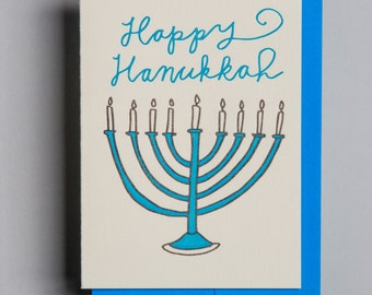 "Letterpress card,  ""Happy Hanukkah!"""