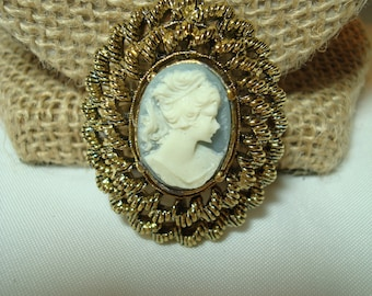 GERRY Brand Vintage Blue and White Cameo Pin.
