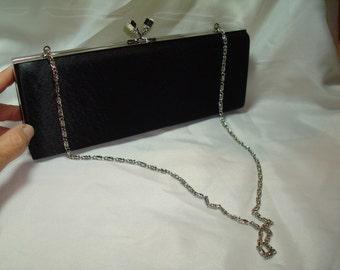 1994 Black Satin Box Clutch Shoulder Bag.