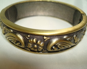 1994 Antiqued Bronze with flower and leaves Cuff Bracelet.