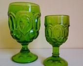 Vintage L.E. Smith Green Wine Glass, Tumbler, Moon & Stars, Set of 2