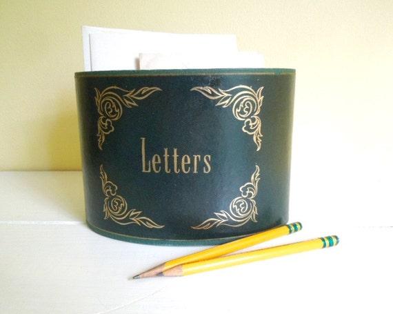 Vintage Letter Holder Desk Vintage Letter Holder Desk Basket Green Leather With Gold