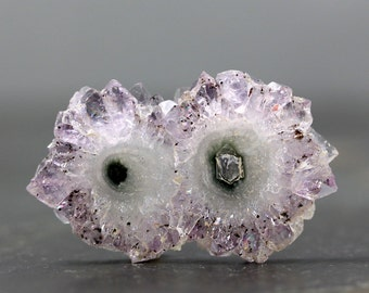 50mm Amethyst Slice Stalactite Crystal Flower, Raw Healing Stone Collectible February Birthstone Centerpiece, Statement Pendant (10784)