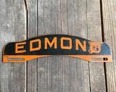 Vintage Metal License Tag Topper Edmond Sign Industrial Decor