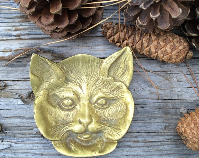 Brass Cat Trinket Dish Vintage Jewelry Holder