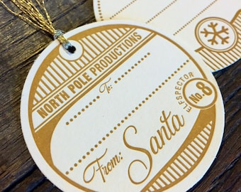 Letterpress Santa Tags, Santa and snowflake set of four. Holiday letterpress gift tags.